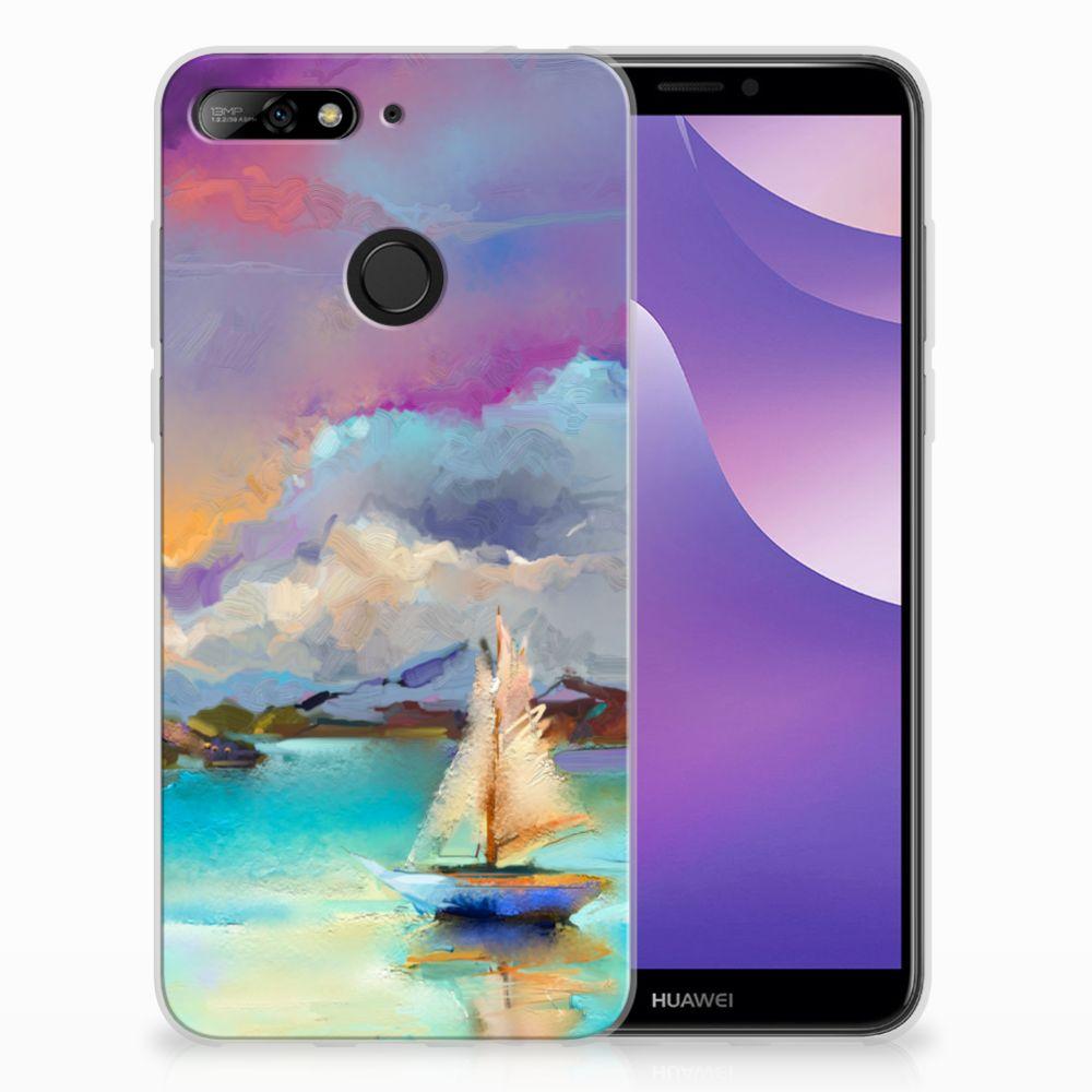 Huawei Y6 (2018) Uniek TPU Hoesje Boat