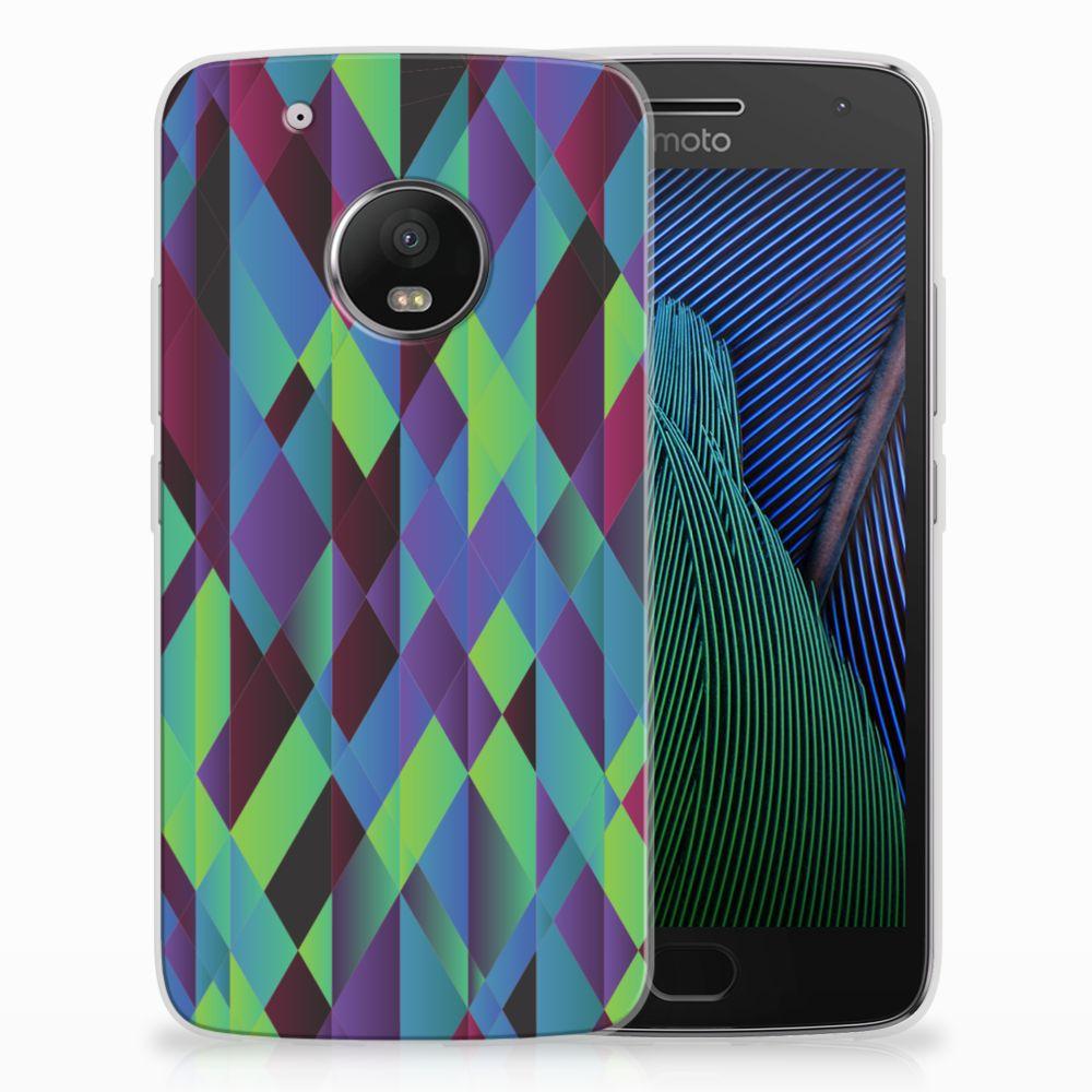 Motorola Moto G5 Plus TPU Hoesje Abstract Green Blue