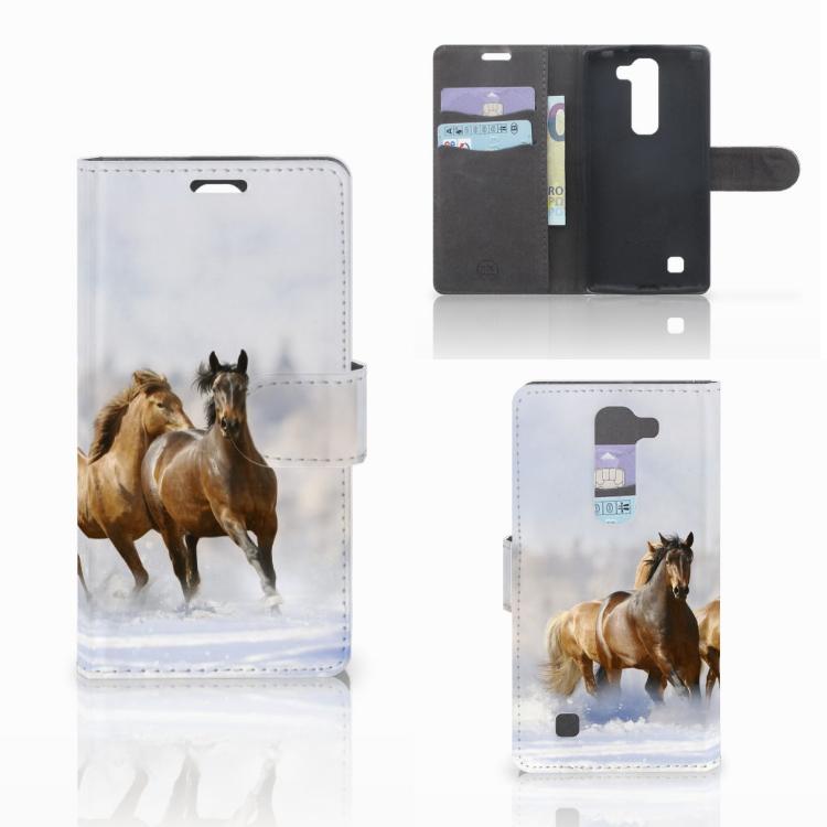 LG Magna | G4C Telefoonhoesje met Pasjes Paarden
