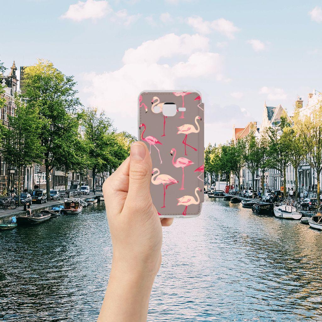 Samsung Galaxy Grand Prime Telefoonhoesje met Pasjes Flamingo