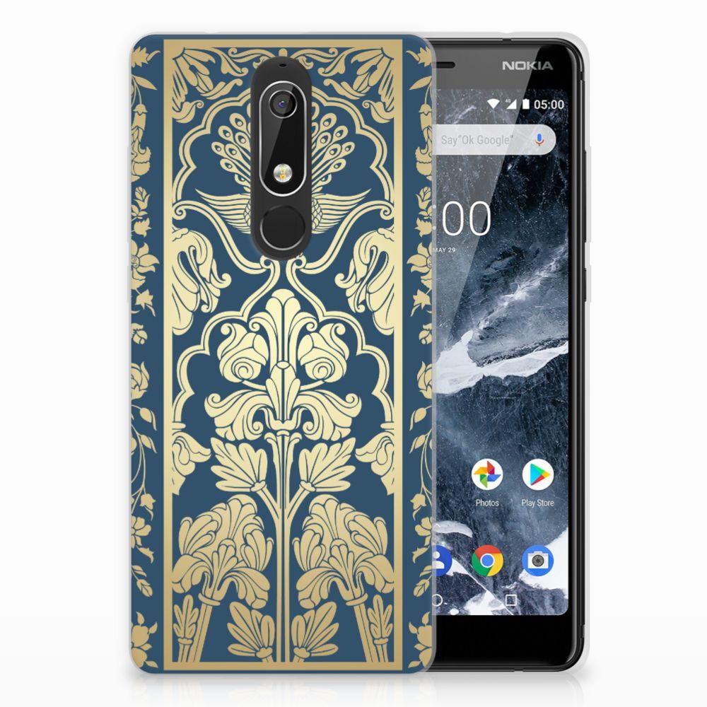 Nokia 5.1 (2018) Uniek TPU Hoesje Golden Flowers