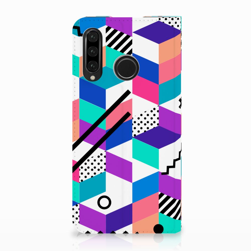 Huawei P30 Lite Stand Case Blokken Kleurrijk