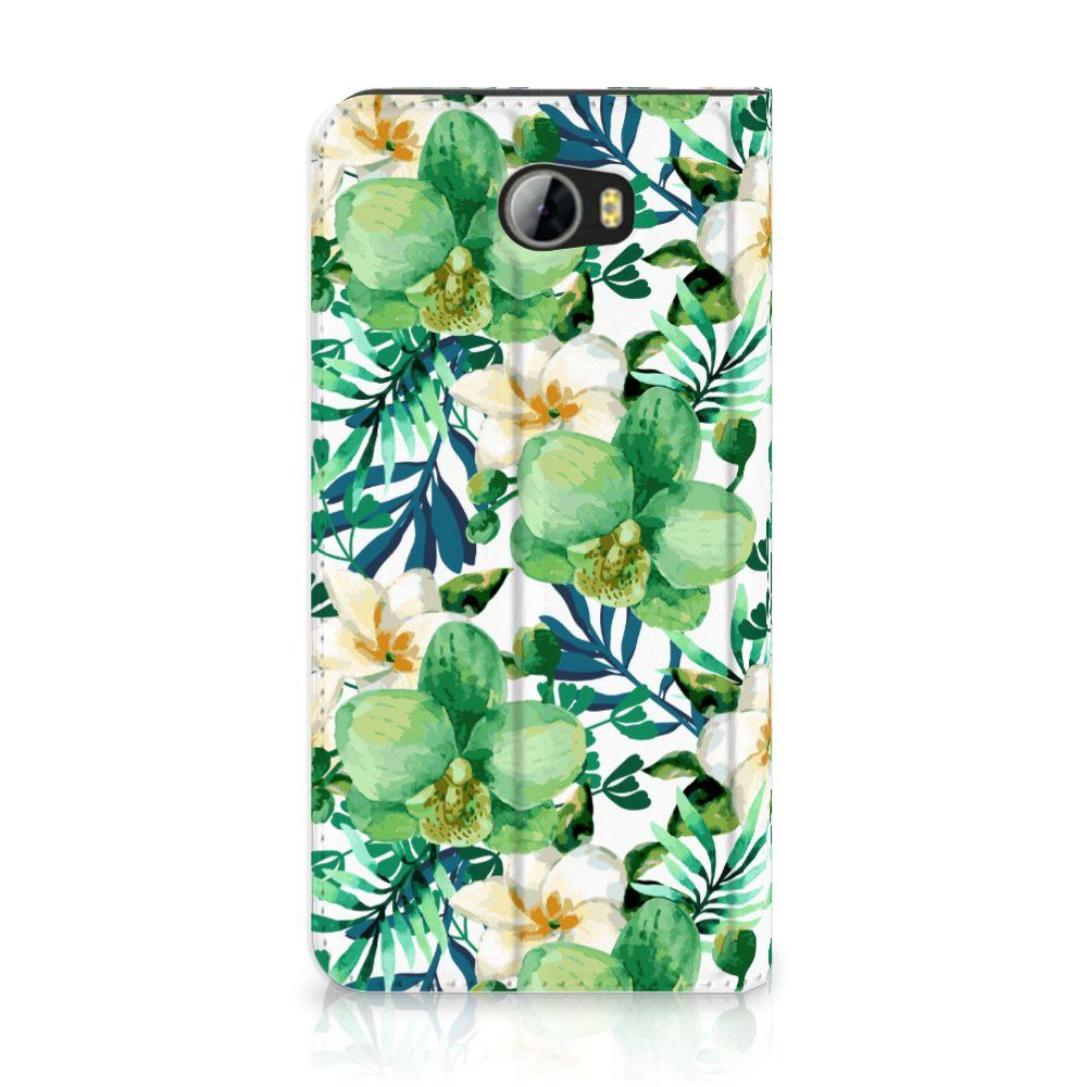 Huawei Y5 2   Y6 Compact Uniek Standcase Hoesje Orchidee Groen