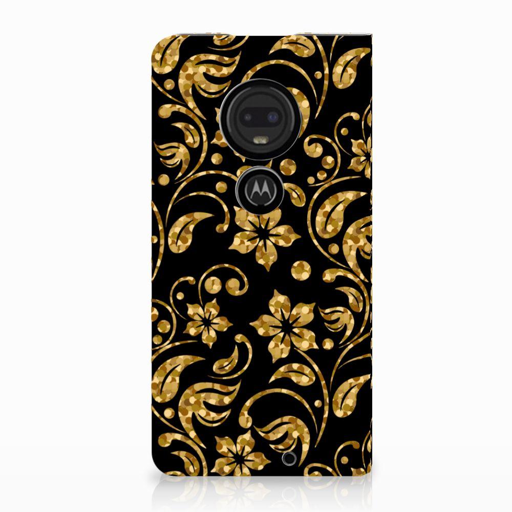 Motorola Moto G7 | G7 Plus Standcase Hoesje Design Gouden Bloemen