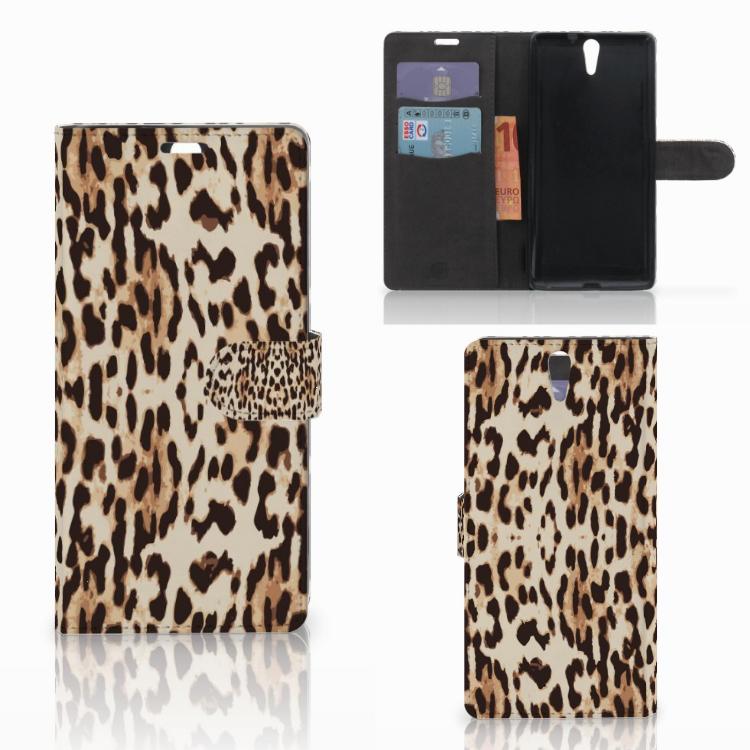 Sony Xperia C5 Ultra Telefoonhoesje met Pasjes Leopard