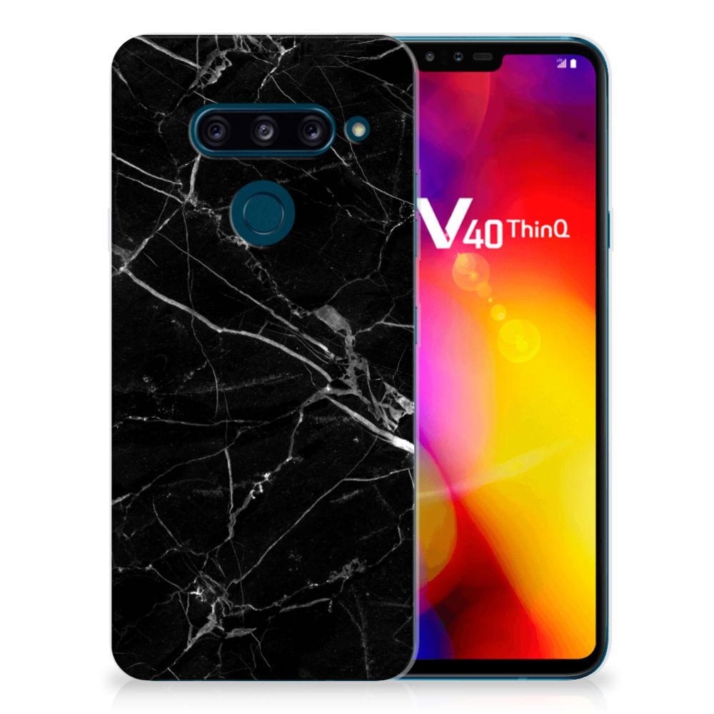 LG V40 Thinq Uniek TPU Hoesje Marmer Zwart