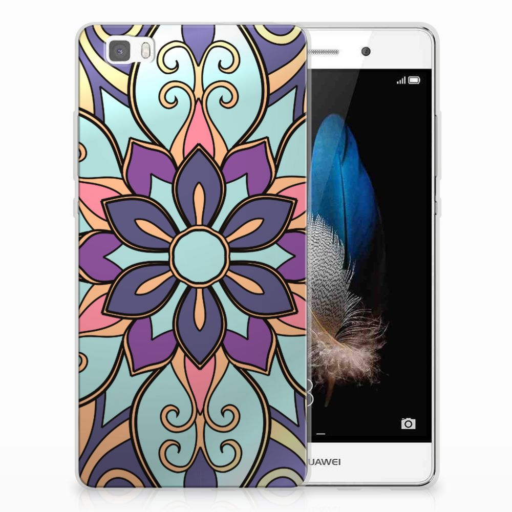 Huawei Ascend P8 Lite TPU Hoesje Design Purple Flower