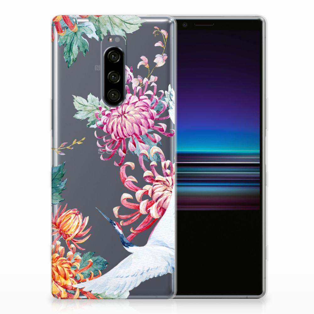 Sony Xperia 1 Leuk Hoesje Bird Flowers