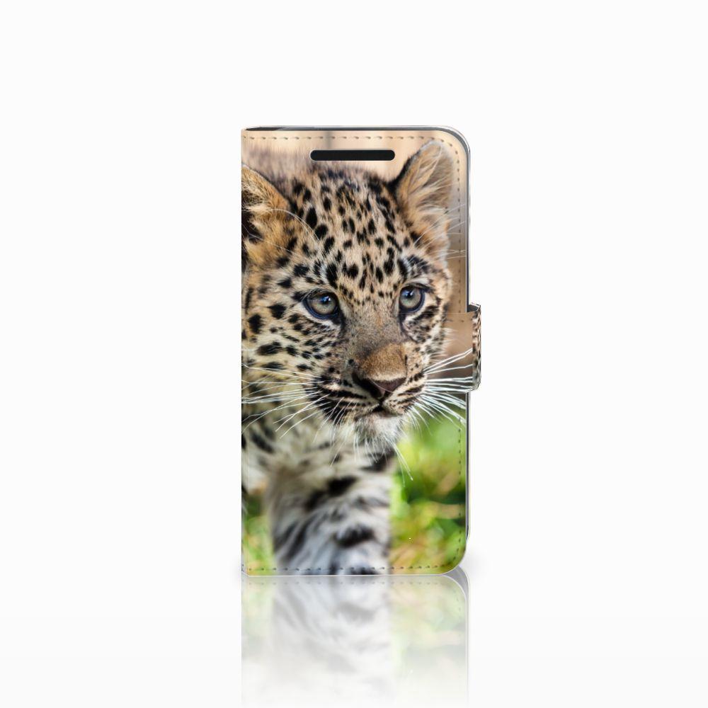 HTC One M9 Uniek Boekhoesje Baby Luipaard