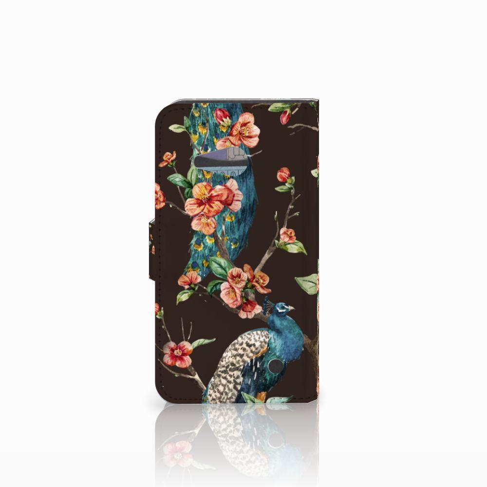 Microsoft Lumia 550 Telefoonhoesje met Pasjes Pauw met Bloemen