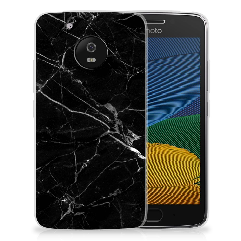 Motorola Moto G5 TPU Siliconen Hoesje Marmer Zwart