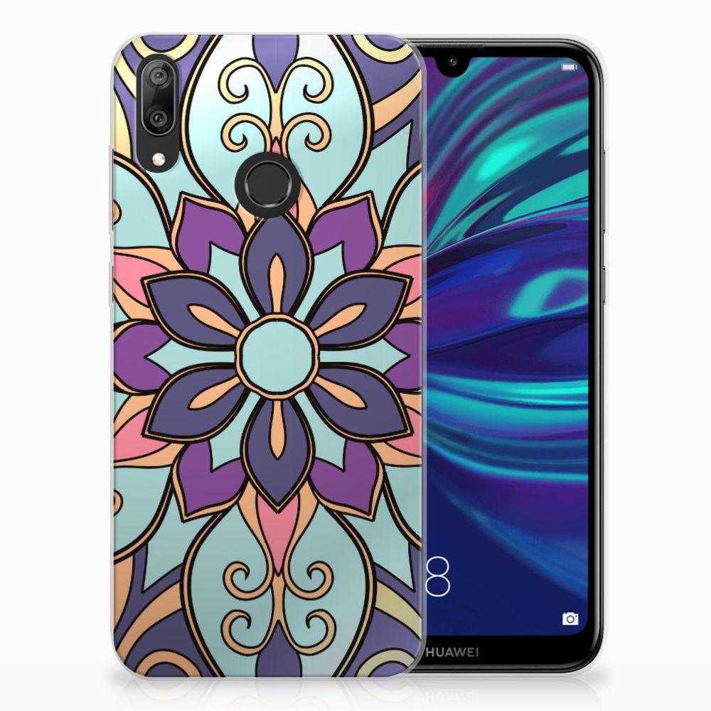 Huawei Y7 2019 TPU Hoesje Design Purple Flower