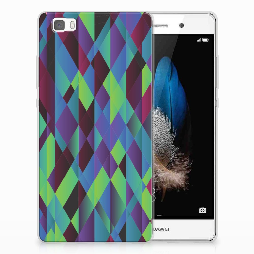Huawei Ascend P8 Lite TPU Hoesje Abstract Green Blue