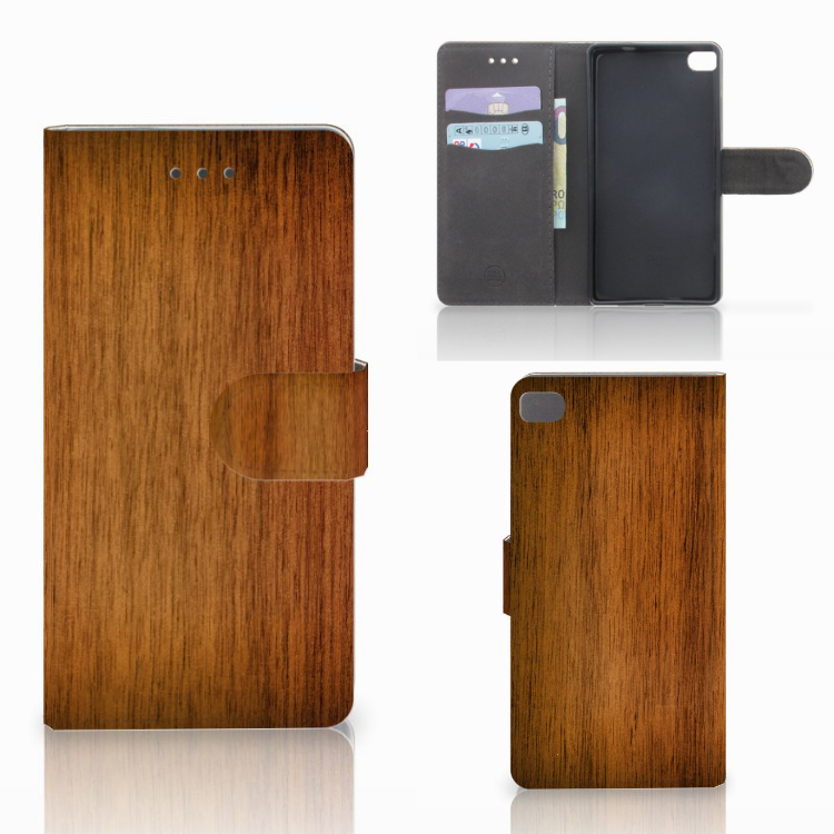 Huawei P8 Book Style Case Donker Hout