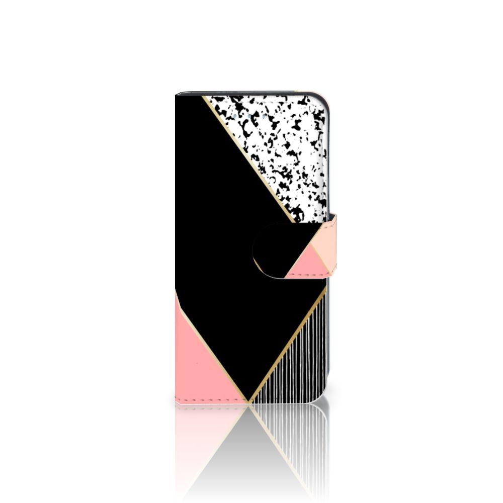 Samsung Galaxy S6 Edge Uniek Boekhoesje Black Pink Shapes