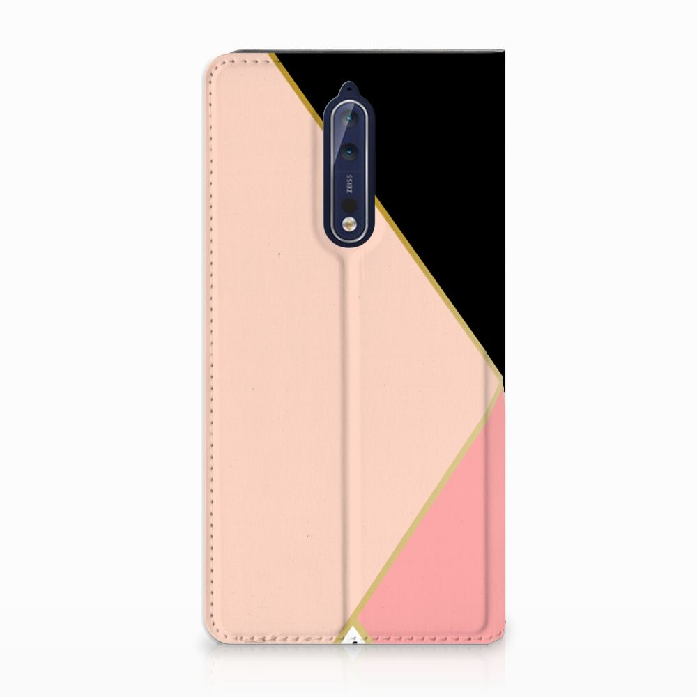 Nokia 8 Uniek Standcase Hoesje Black Pink Shapes