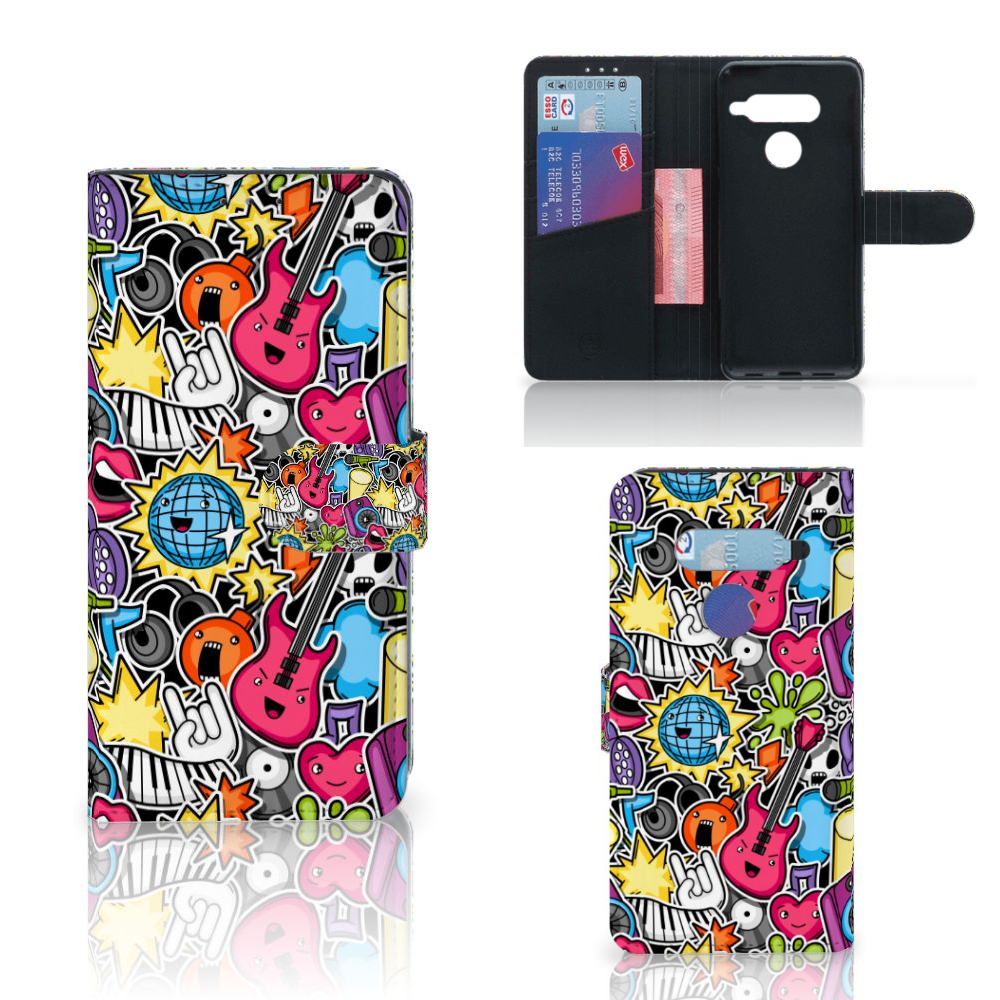 LG V40 Thinq Wallet Case met Pasjes Punk Rock