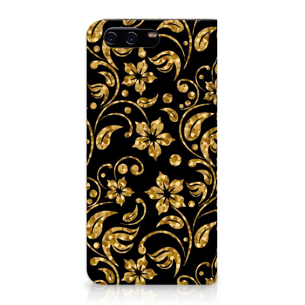 Huawei P10 Standcase Hoesje Design Gouden Bloemen