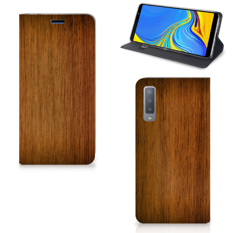 Samsung Galaxy A7 (2018) Book Wallet Case Donker Hout