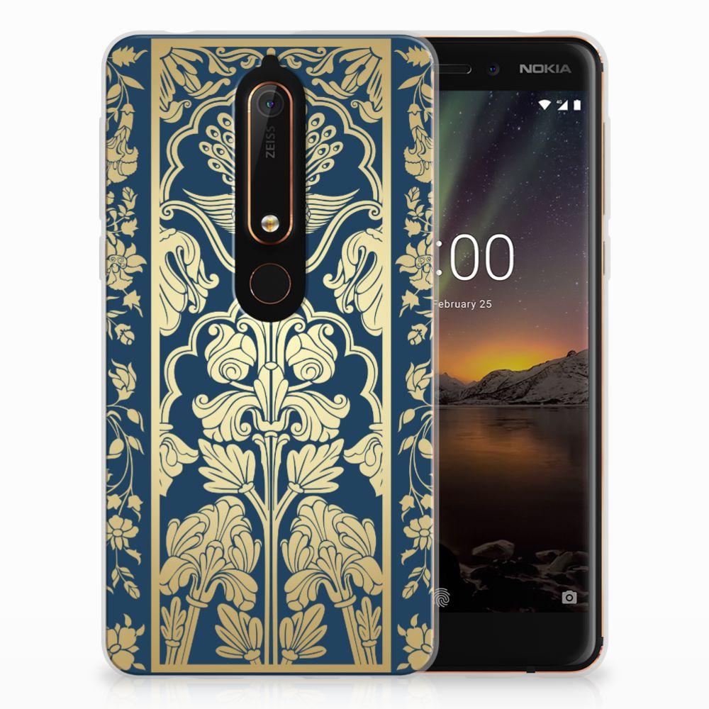 Nokia 6 (2018) TPU Hoesje Golden Flowers