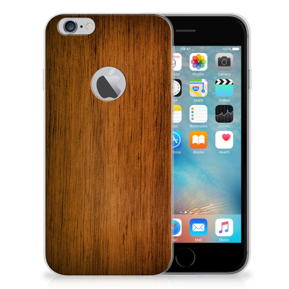 Apple iPhone 6 Plus | 6s Plus Uniek TPU Hoesje Donker Hout