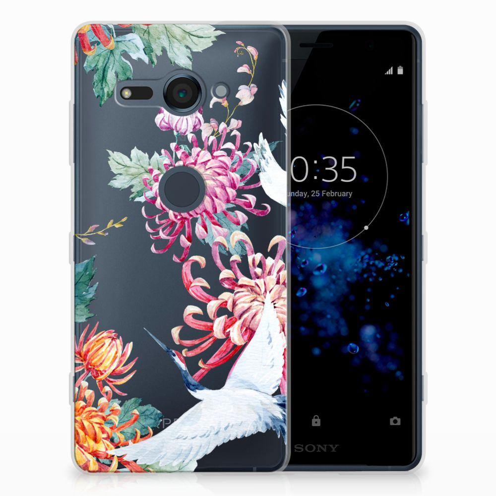 Sony Xperia XZ2 Compact TPU Hoesje Bird Flowers
