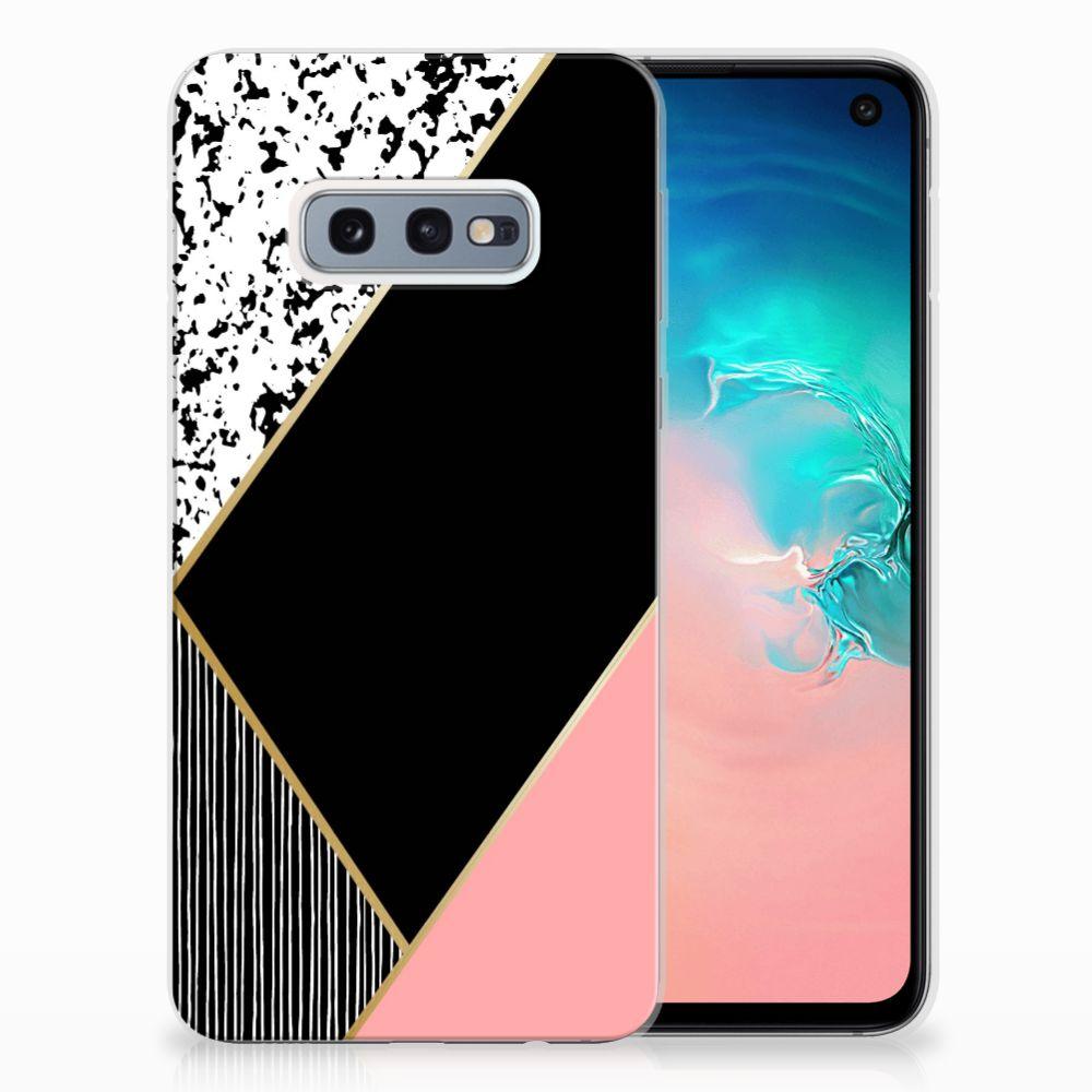 Samsung Galaxy S10e TPU Hoesje Zwart Roze Vormen