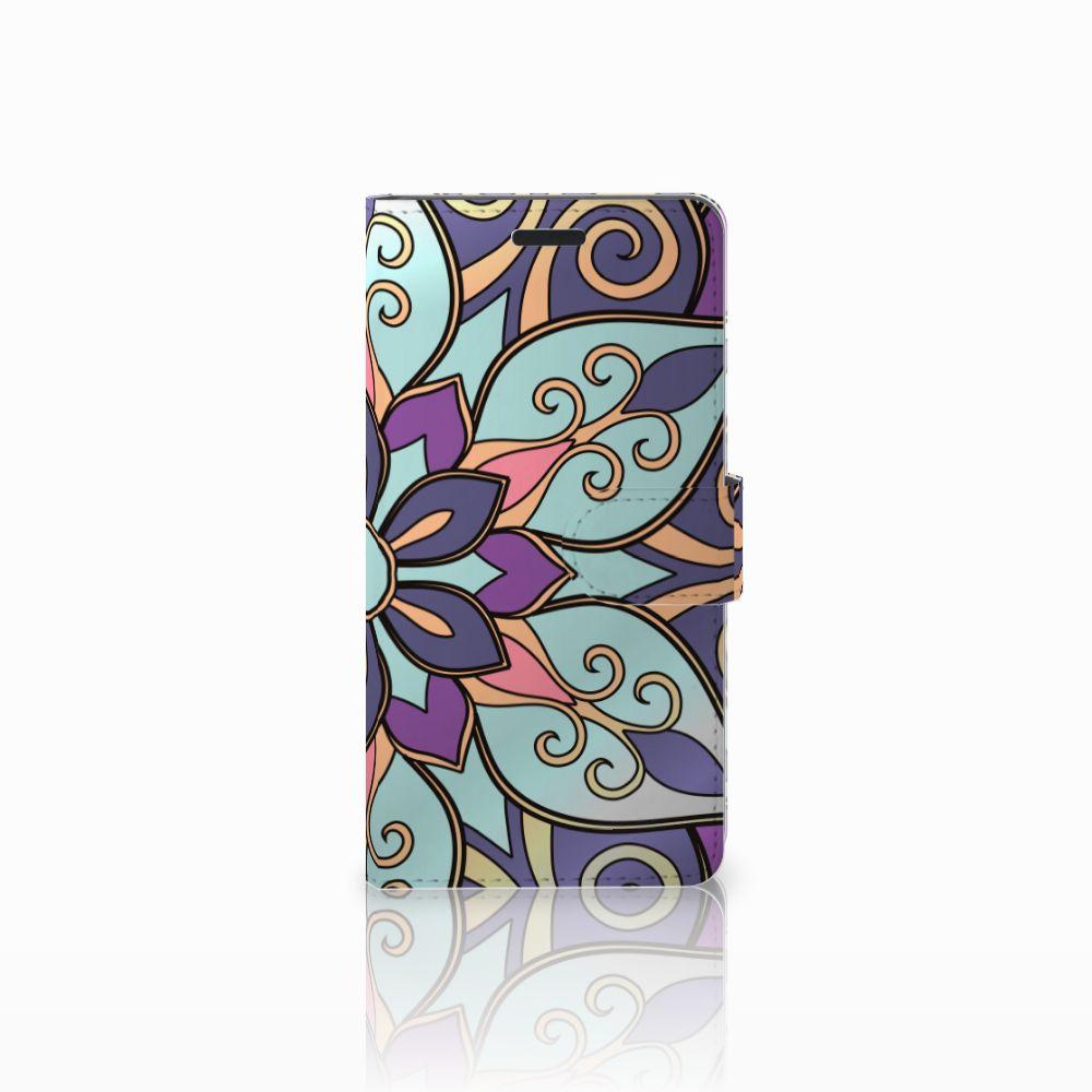 Samsung Galaxy A7 2015 Boekhoesje Design Purple Flower