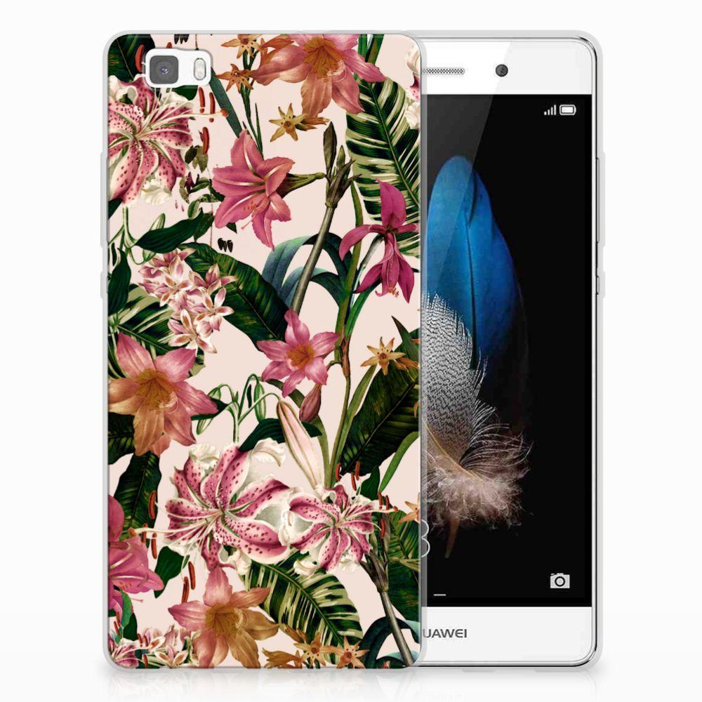 Huawei Ascend P8 Lite Uniek TPU Hoesje Flowers