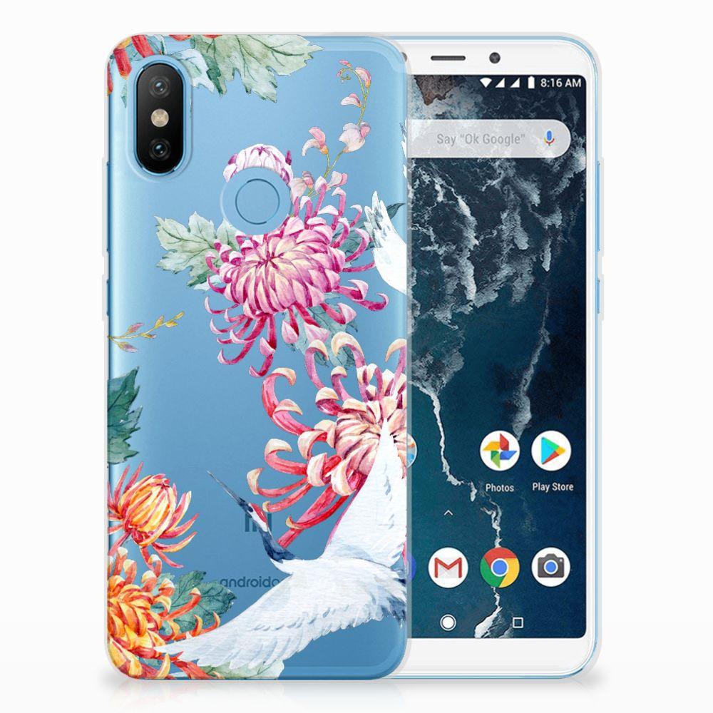 Xiaomi Mi A2 Uniek TPU Hoesje Bird Flowers