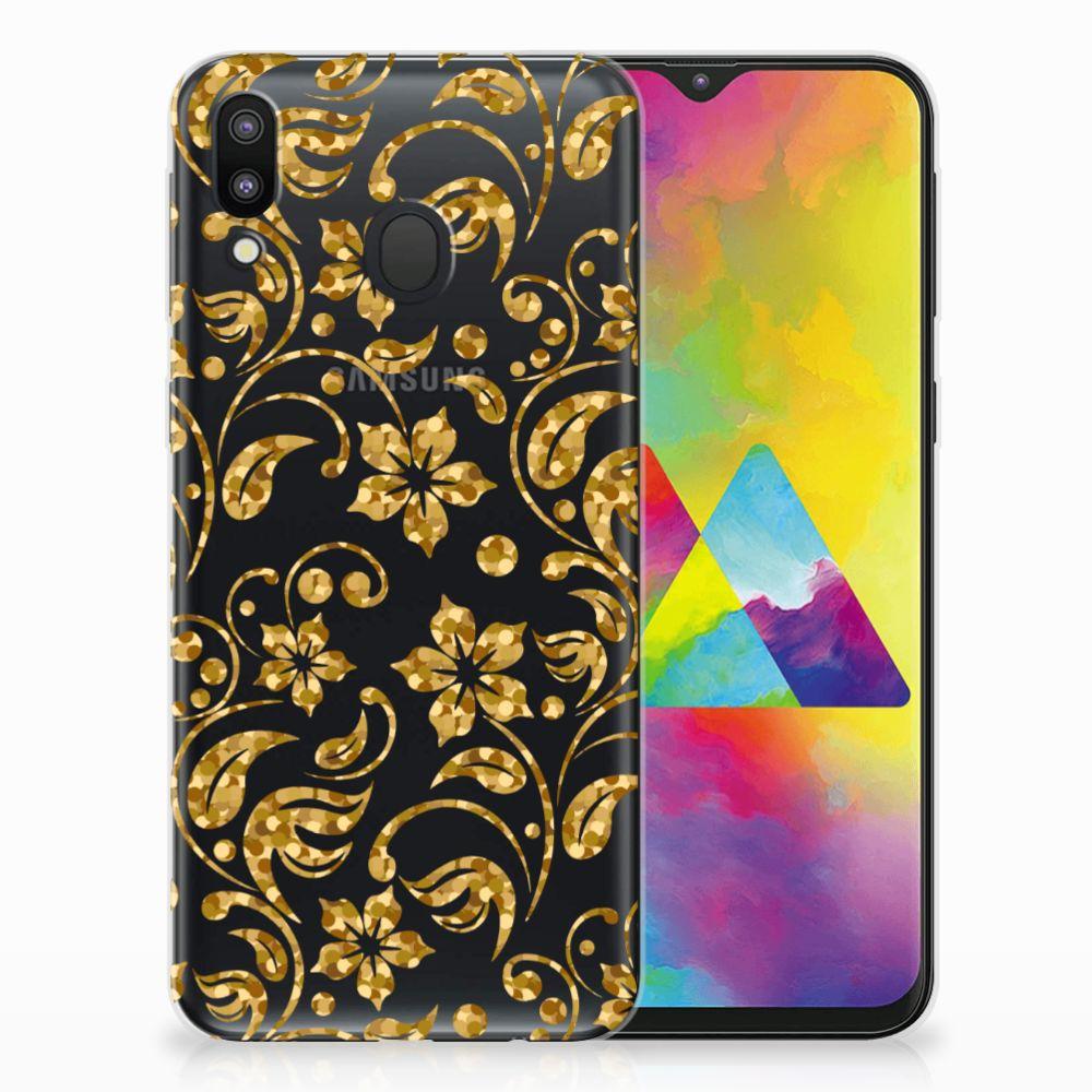 Samsung Galaxy M20 TPU Hoesje Design Gouden Bloemen