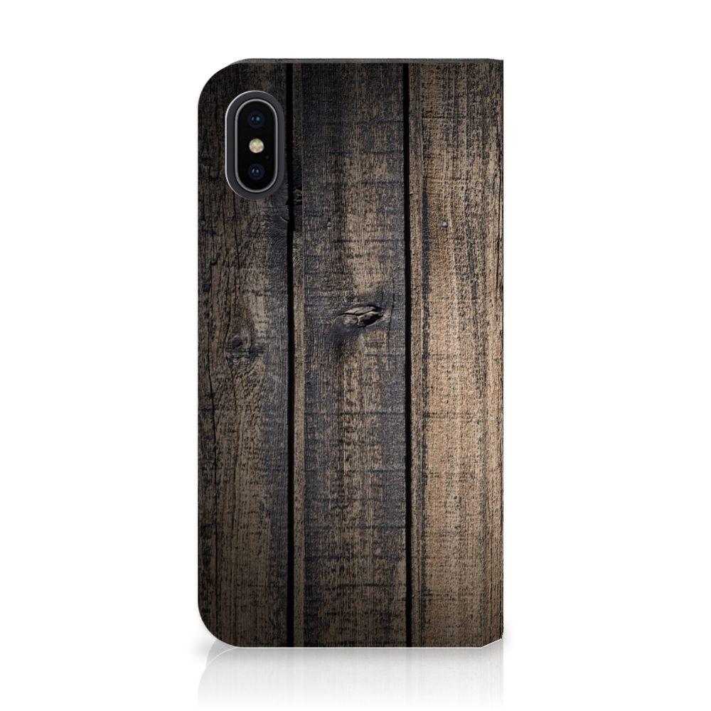 Apple iPhone X | Xs Standcase Hoesje Design Steigerhout
