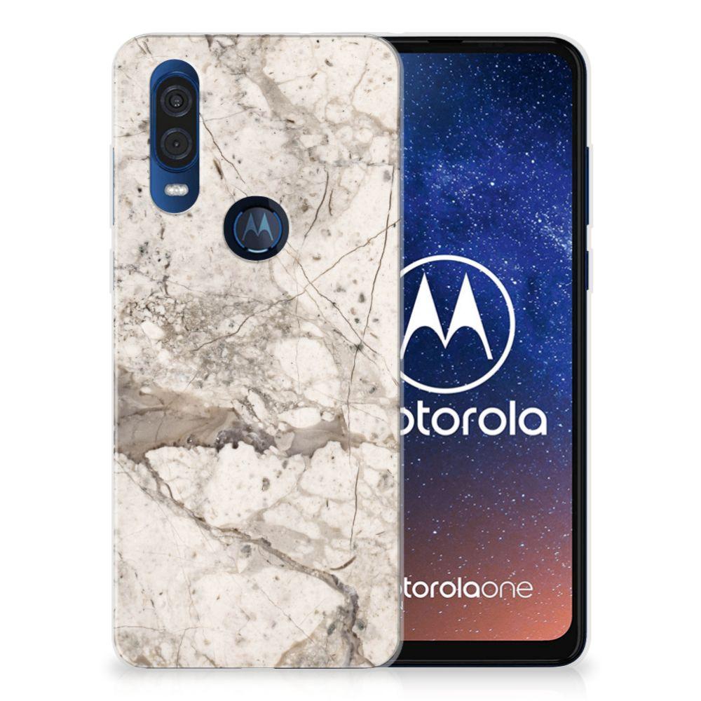 Motorola One Vision TPU Siliconen Hoesje Marmer Beige