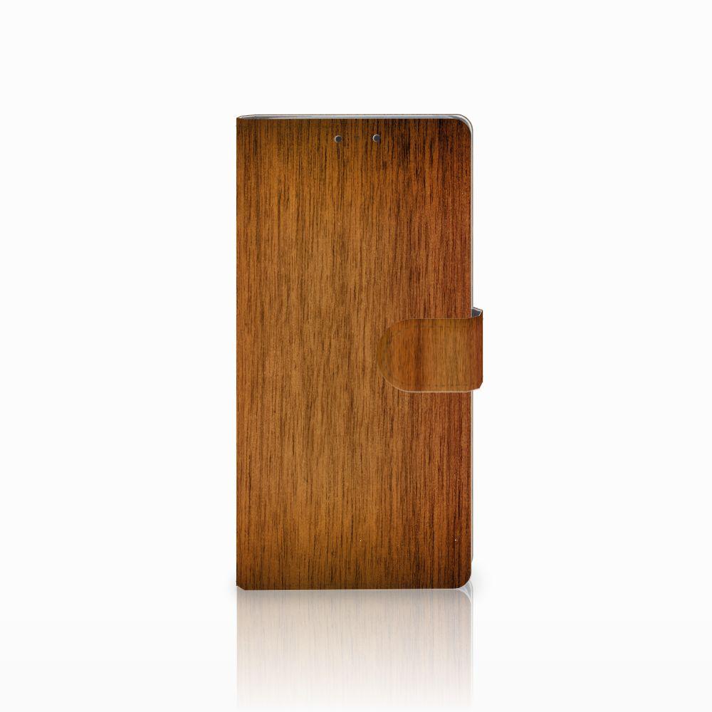 HTC U Ultra Uniek Boekhoesje Donker Hout