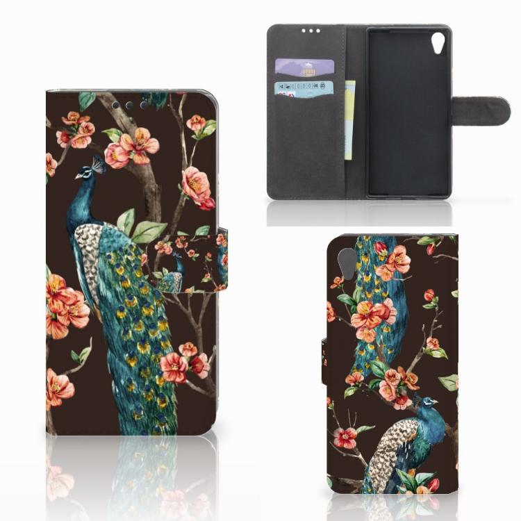 Sony Xperia Z5 Premium Telefoonhoesje met Pasjes Pauw met Bloemen