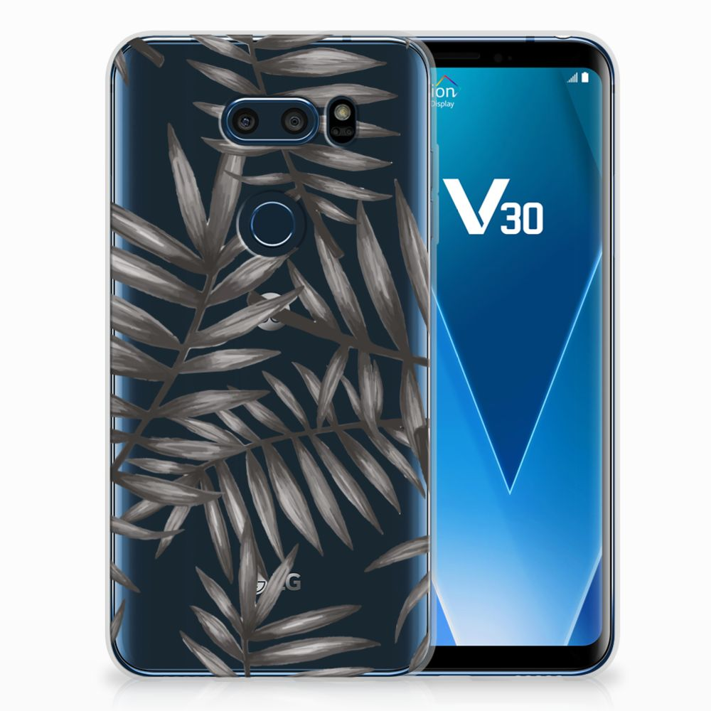 LG V30 Uniek TPU Hoesje Leaves Grey