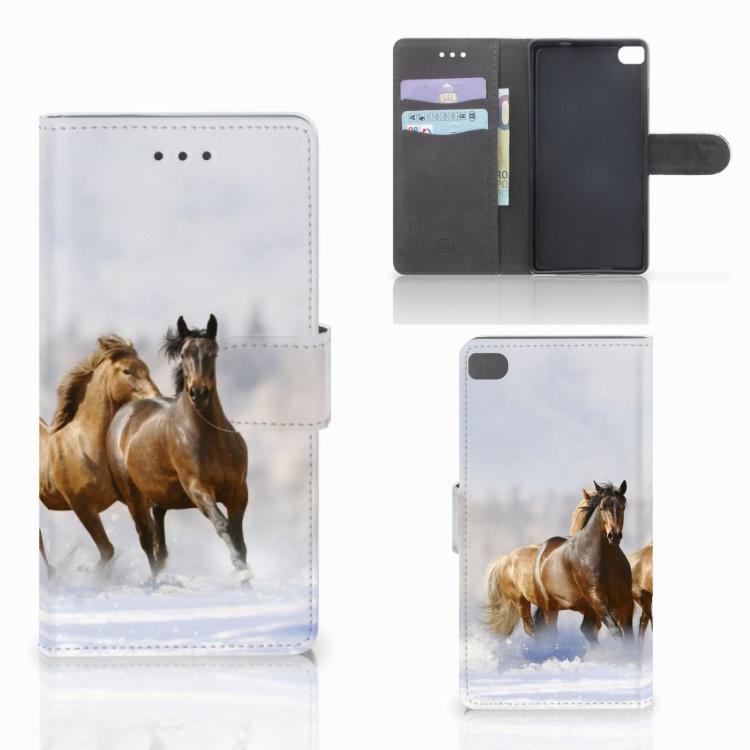 Huawei P8 Telefoonhoesje met Pasjes Paarden