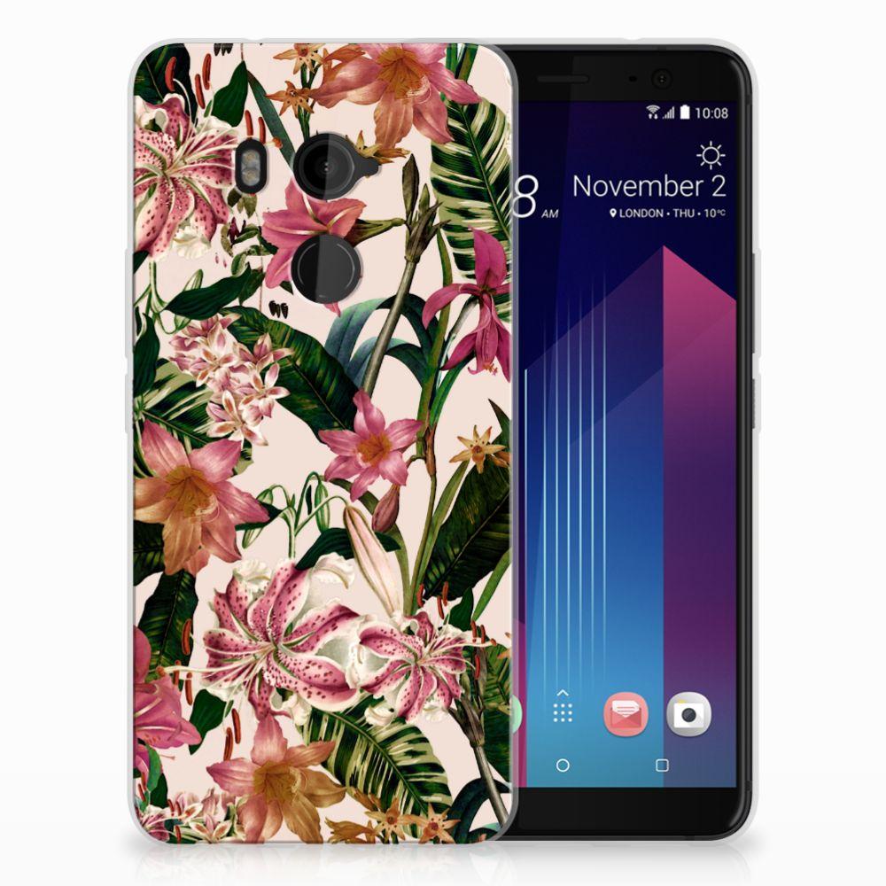 HTC U11 Plus Uniek TPU Hoesje Flowers