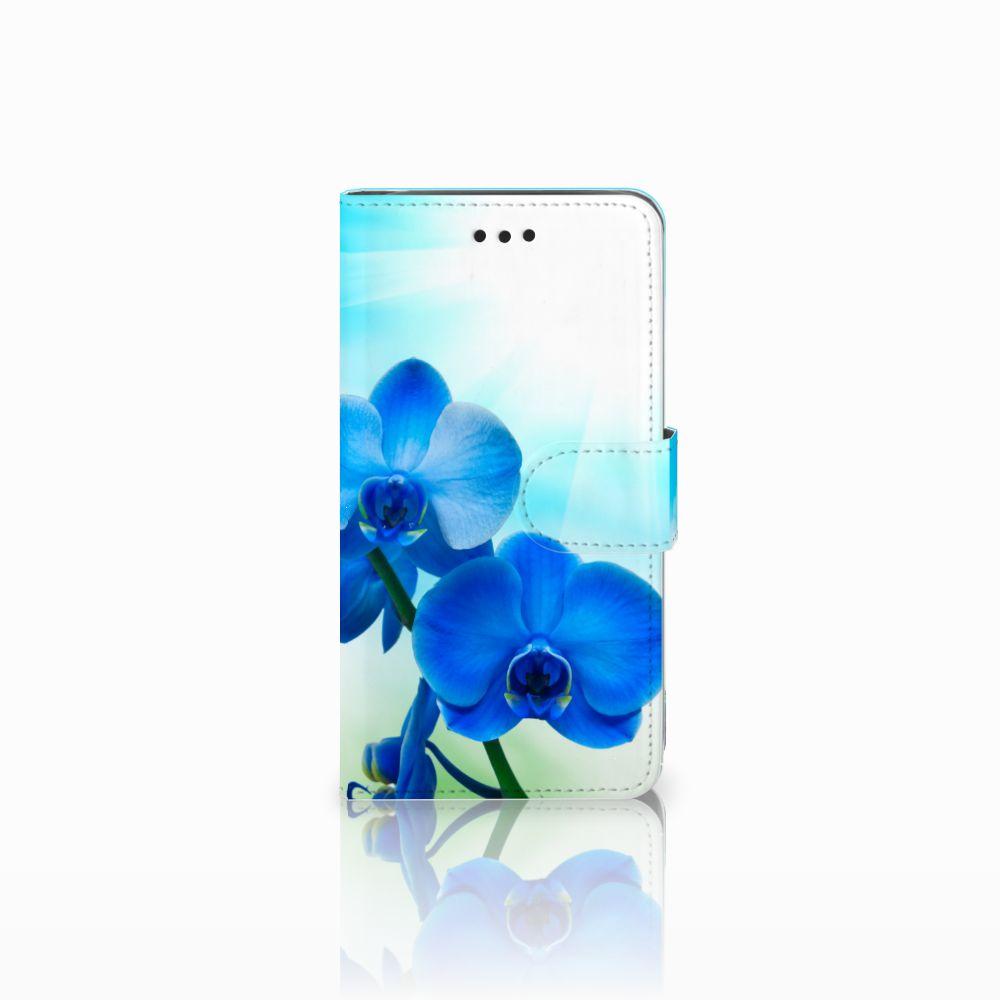Samsung Galaxy J2 Pro 2018 Boekhoesje Design Orchidee Blauw