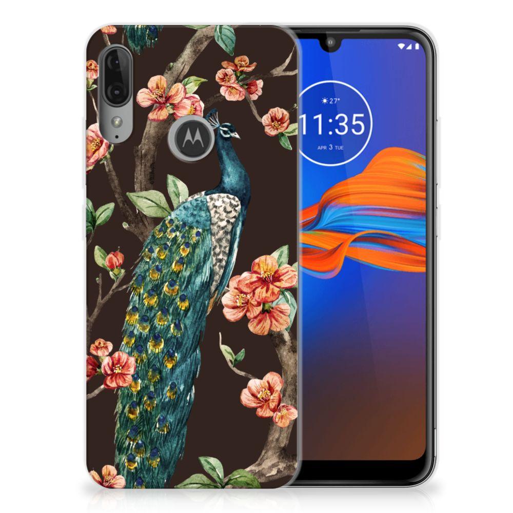 Motorola Moto E6 Plus TPU Hoesje Pauw met Bloemen