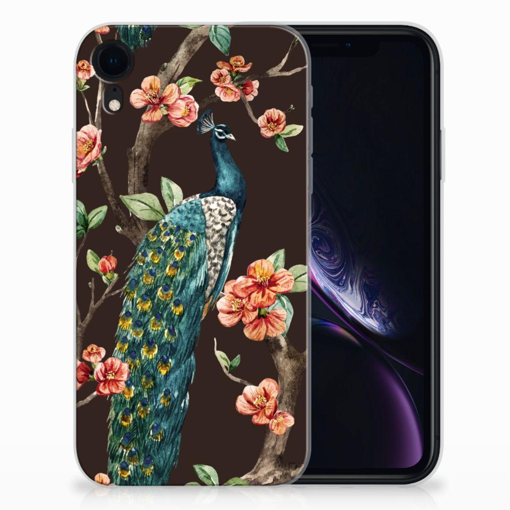 Apple iPhone Xr TPU Hoesje Pauw met Bloemen