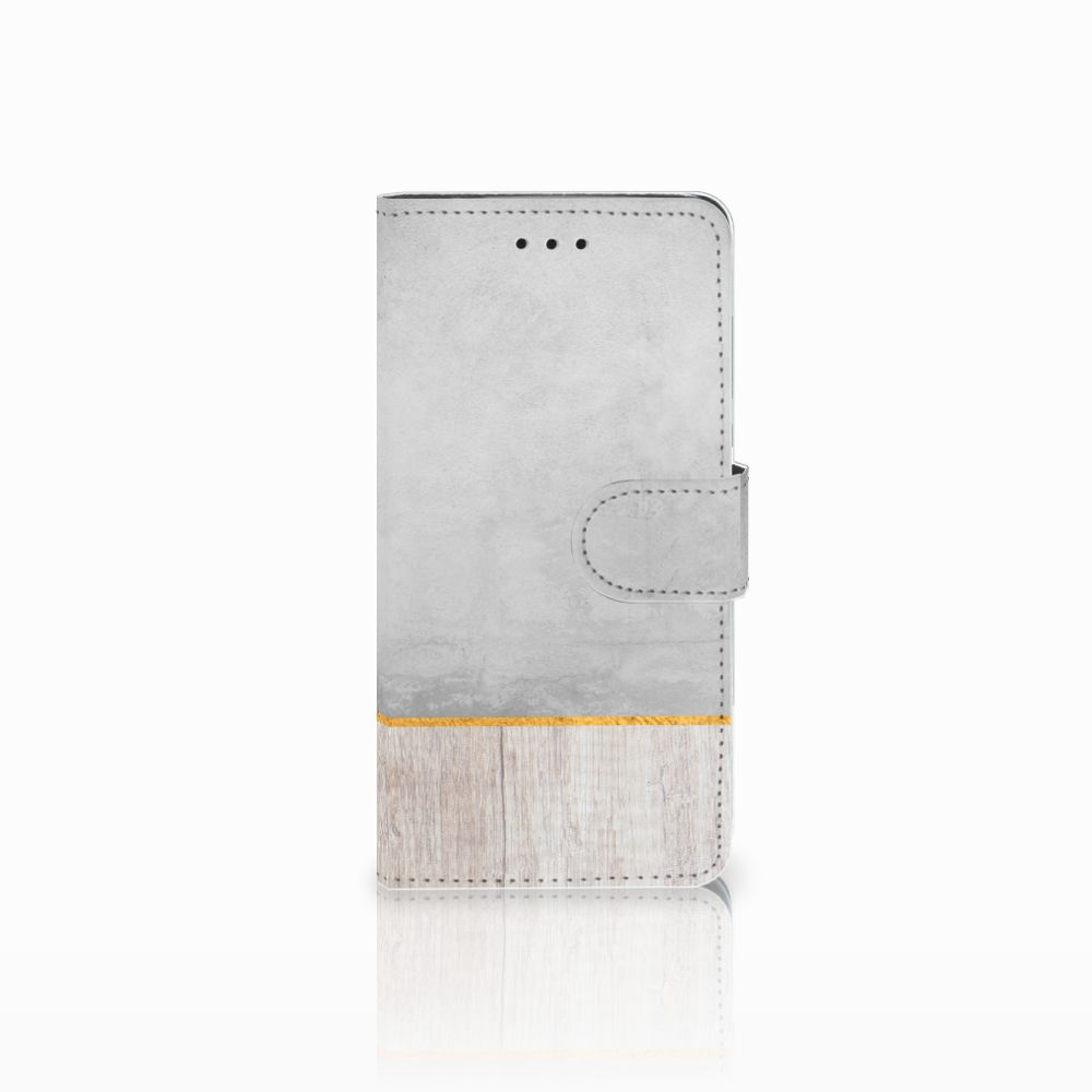 Huawei Y5 2018 Uniek Boekhoesje Wood Concrete