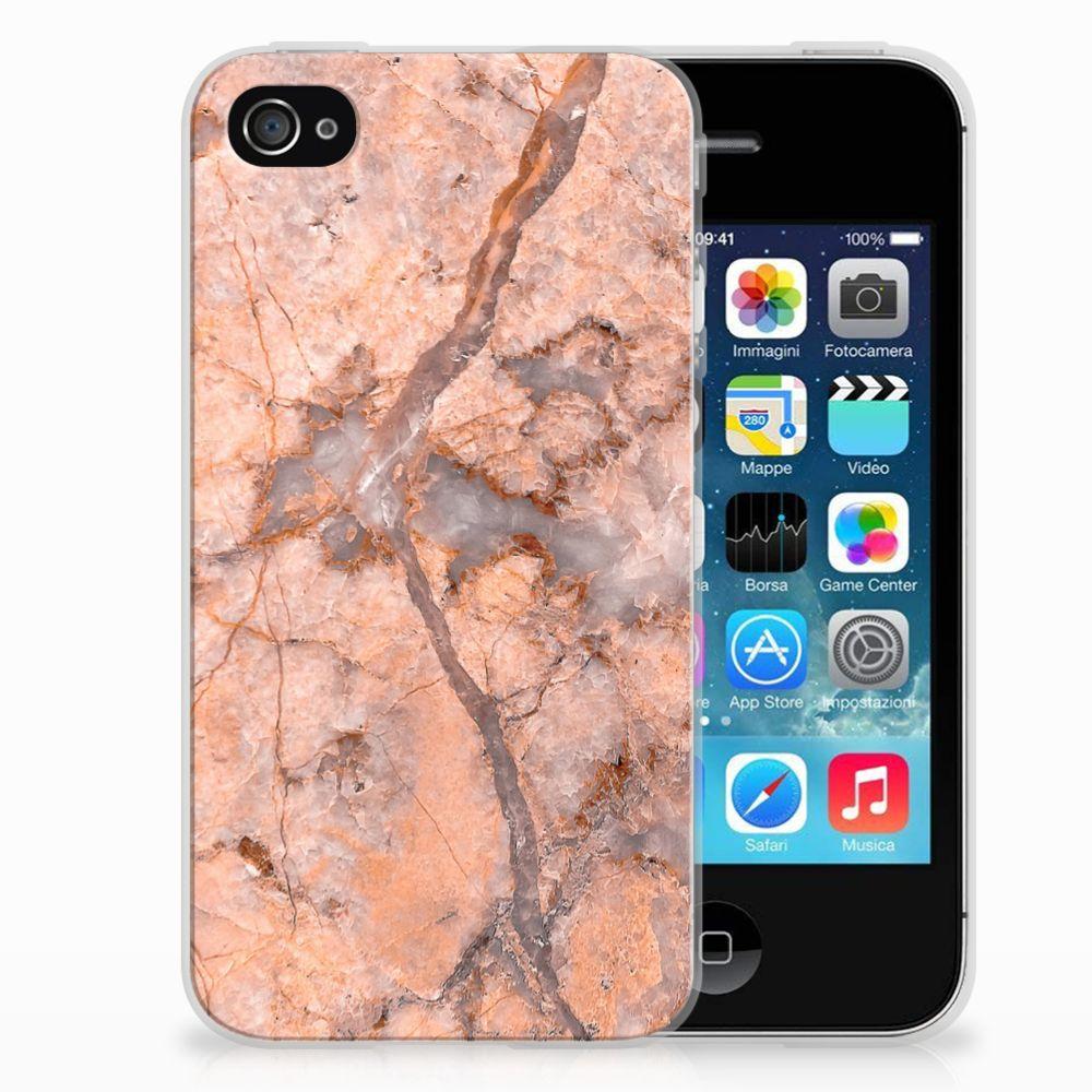 Apple iPhone 4   4s TPU Siliconen Hoesje Marmer Oranje