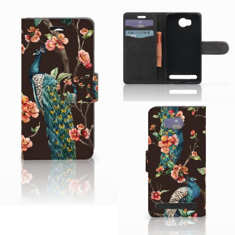 Huawei Y3 2 | Y3 II Telefoonhoesje met Pasjes Pauw met Bloemen