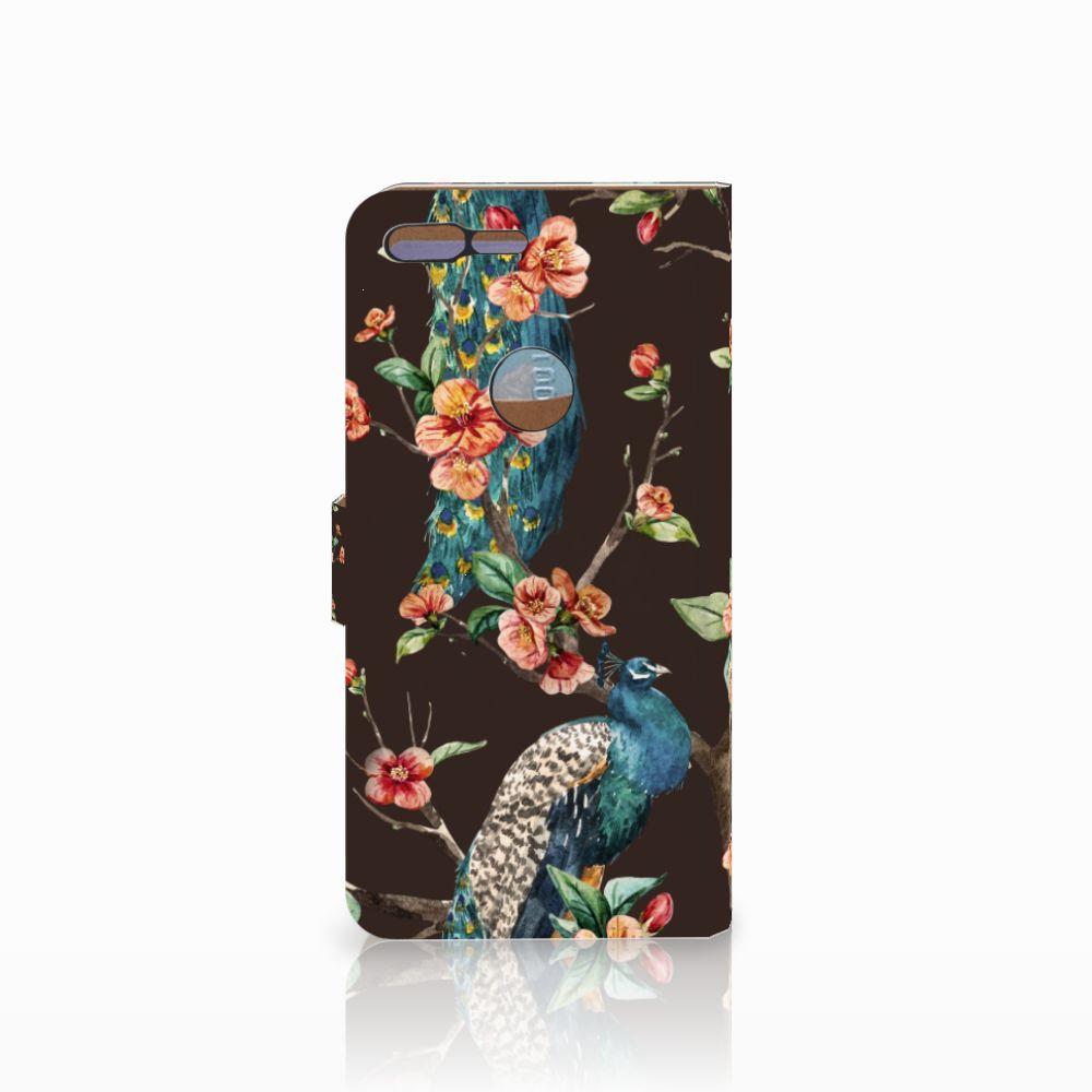 Google Pixel XL Telefoonhoesje met Pasjes Pauw met Bloemen