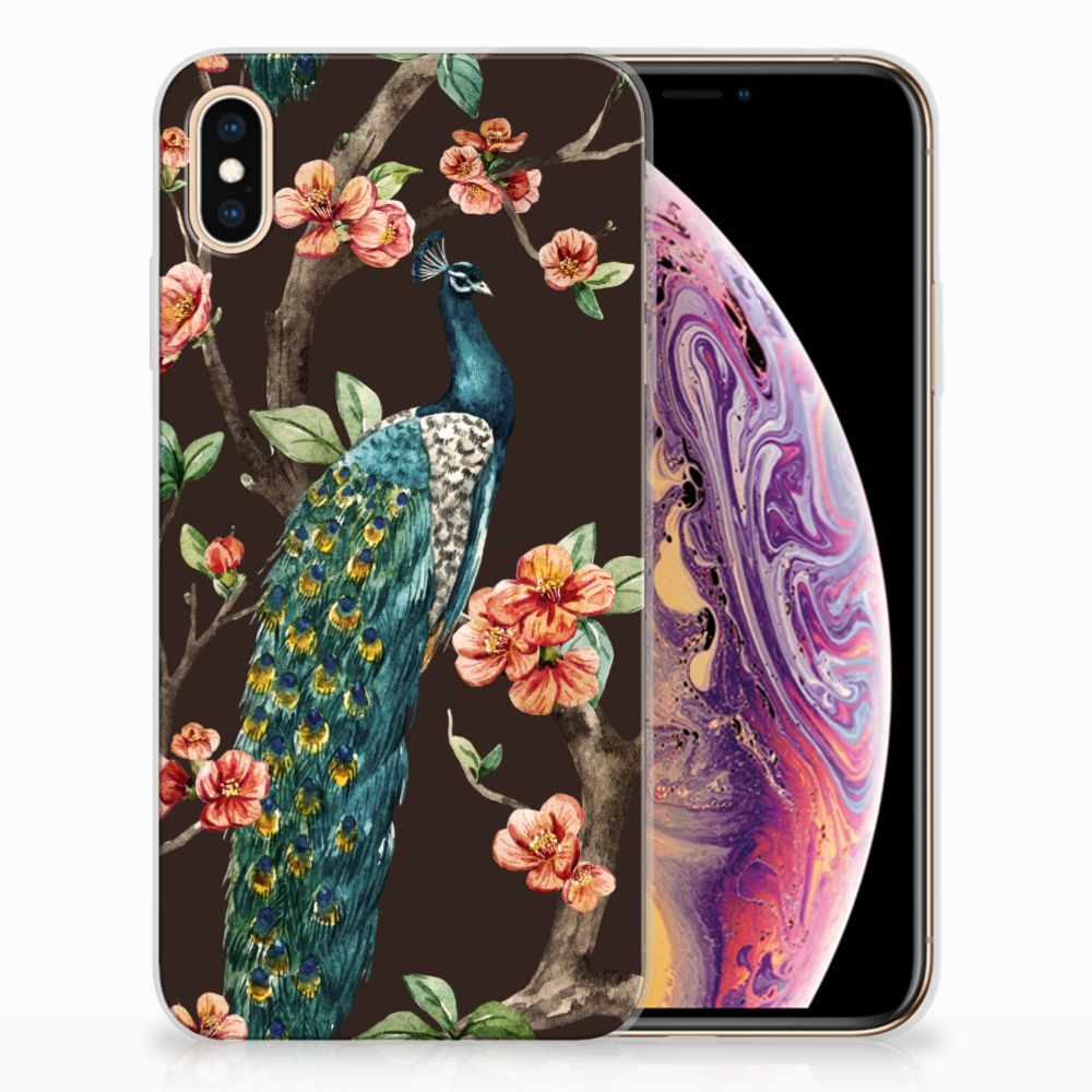 Apple iPhone Xs Max TPU Hoesje Design Pauw met Bloemen