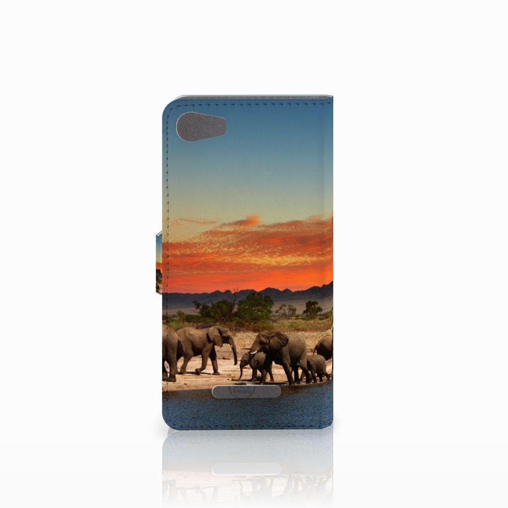 Wiko Lenny 2 Telefoonhoesje met Pasjes Olifanten