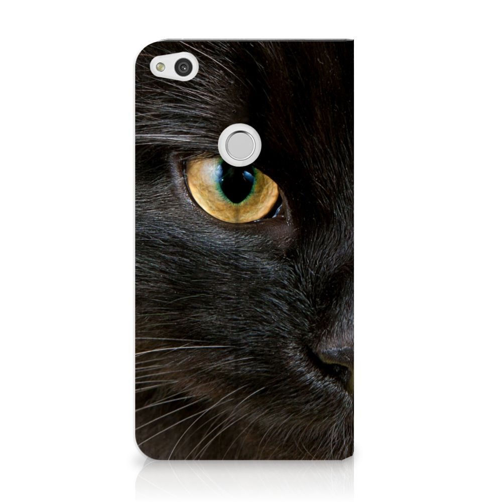 Huawei P8 Lite 2017 Uniek Standcase Hoesje Zwarte Kat