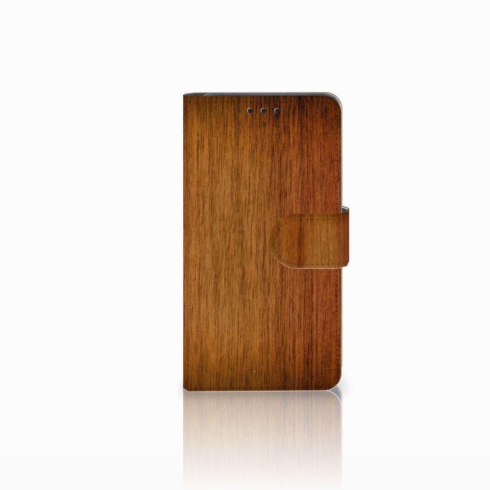 Huawei Y6 Pro 2017 Uniek Boekhoesje Donker Hout