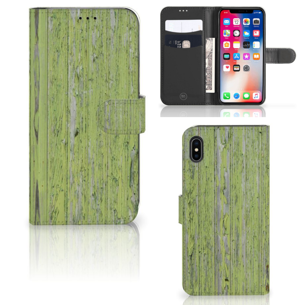 Apple iPhone Xs Max Boekhoesje Design Green Wood